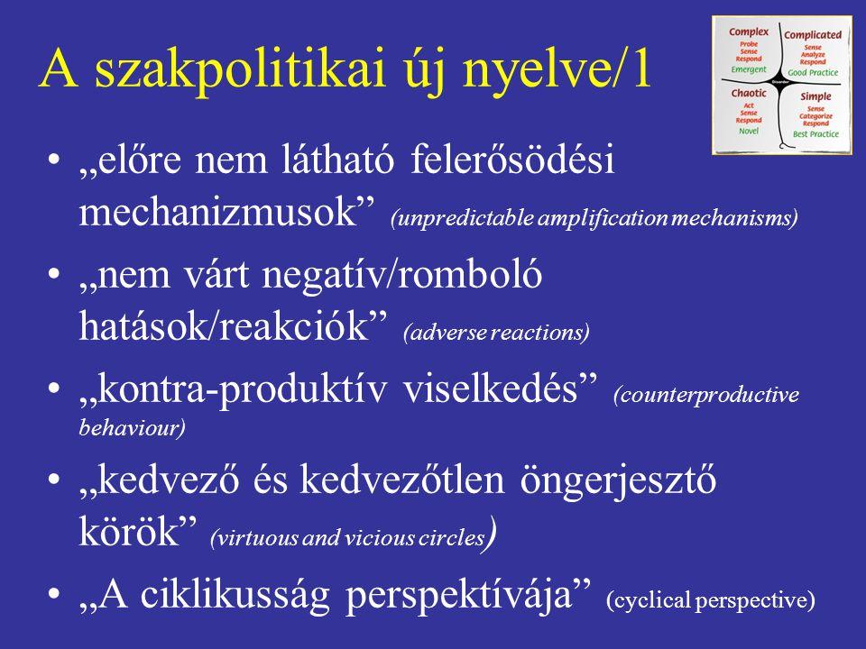 """A szakpolitikai új nyelve/1 """"előre nem látható felerősödési mechanizmusok"""" (unpredictable amplification mechanisms) """"nem várt negatív/romboló hatások/"""