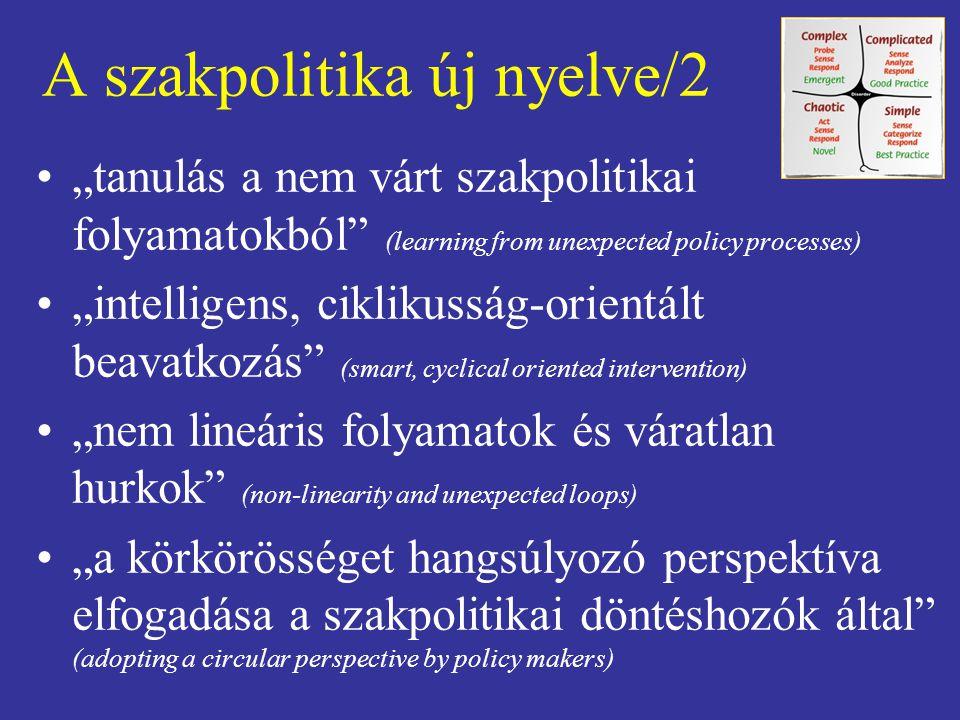 """A szakpolitika új nyelve/2 """"tanulás a nem várt szakpolitikai folyamatokból"""" (learning from unexpected policy processes) """"intelligens, ciklikusság-orie"""