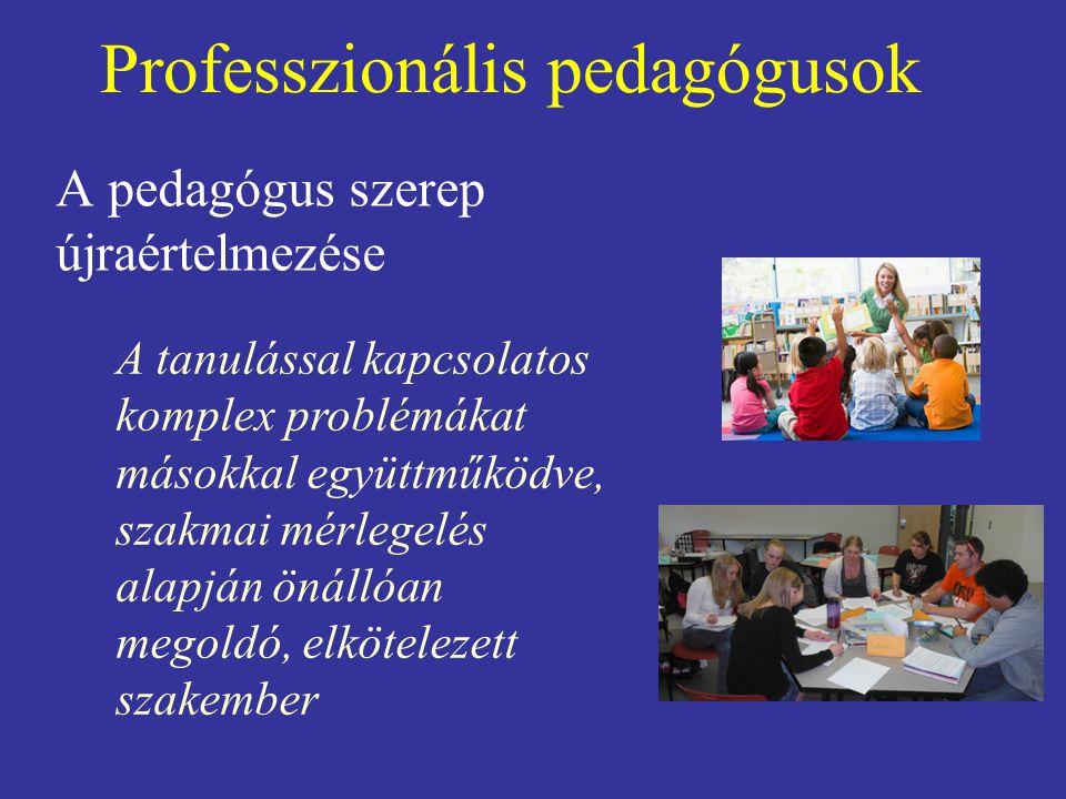 Professzionális pedagógusok A pedagógus szerep újraértelmezése A tanulással kapcsolatos komplex problémákat másokkal együttműködve, szakmai mérlegelés