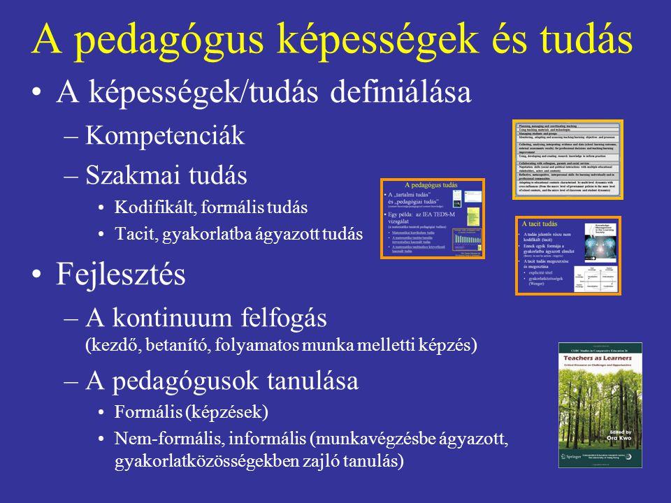 A pedagógus képességek és tudás A képességek/tudás definiálása –Kompetenciák –Szakmai tudás Kodifikált, formális tudás Tacit, gyakorlatba ágyazott tud