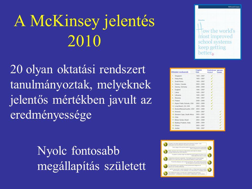 A McKinsey jelentés 2010 20 olyan oktatási rendszert tanulmányoztak, melyeknek jelentős mértékben javult az eredményessége Nyolc fontosabb megállapítá
