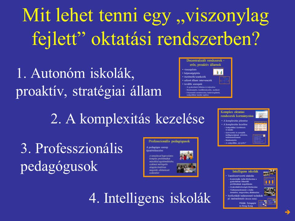 """Mit lehet tenni egy """"viszonylag fejlett"""" oktatási rendszerben? 1. Autonóm iskolák, proaktív, stratégiai állam 4. Intelligens iskolák 3. Professzionáli"""