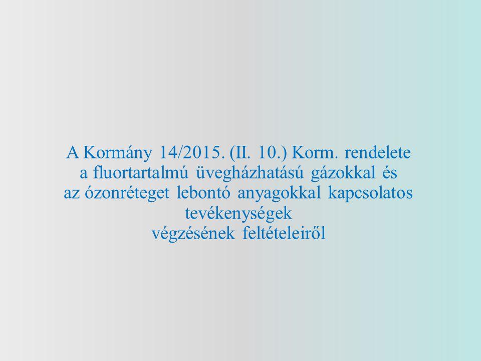 Importőröket, kereskedőket érintő rendelkezések 10.Fluorozott szénhidrogénekkel előtöltött berendezések forgalomba hozatala Magyarország területén 13.