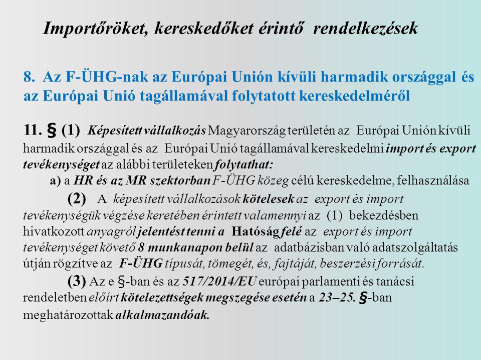Importőröket, kereskedőket érintő rendelkezések 8. Az F-ÜHG-nak az Európai Unión kívüli harmadik országgal és az Európai Unió tagállamával folytatott