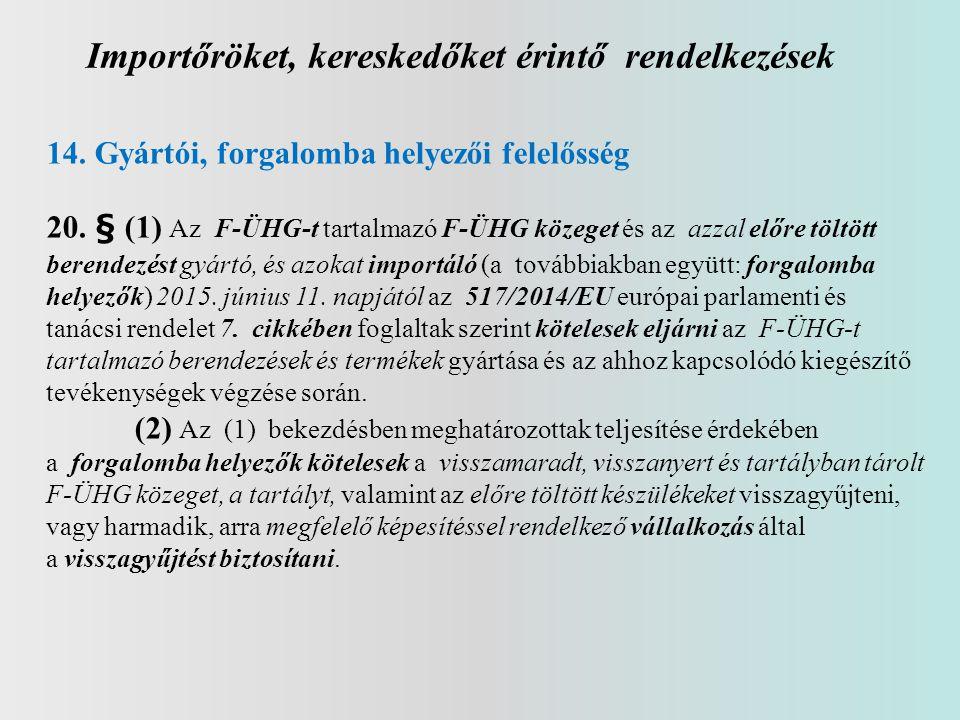 Importőröket, kereskedőket érintő rendelkezések 14. Gyártói, forgalomba helyezői felelősség 20. § (1) Az F-ÜHG-t tartalmazó F-ÜHG közeget és az azzal