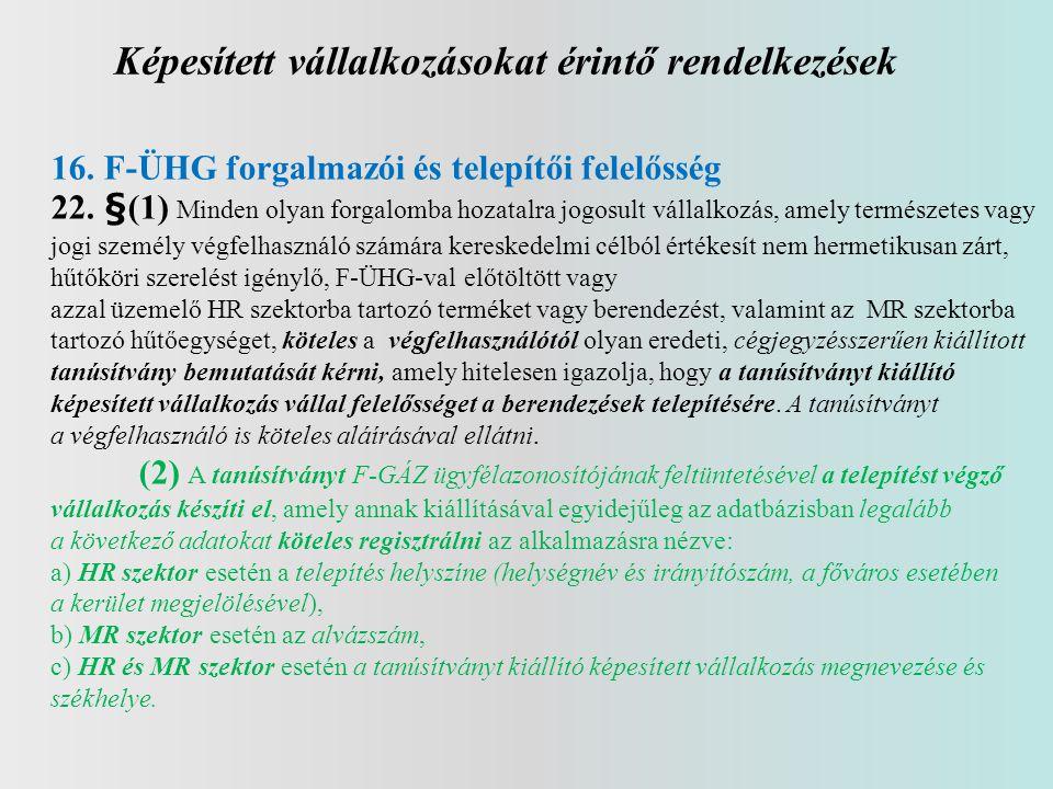 Képesített vállalkozásokat érintő rendelkezések 16. F-ÜHG forgalmazói és telepítői felelősség 22. §(1) Minden olyan forgalomba hozatalra jogosult váll