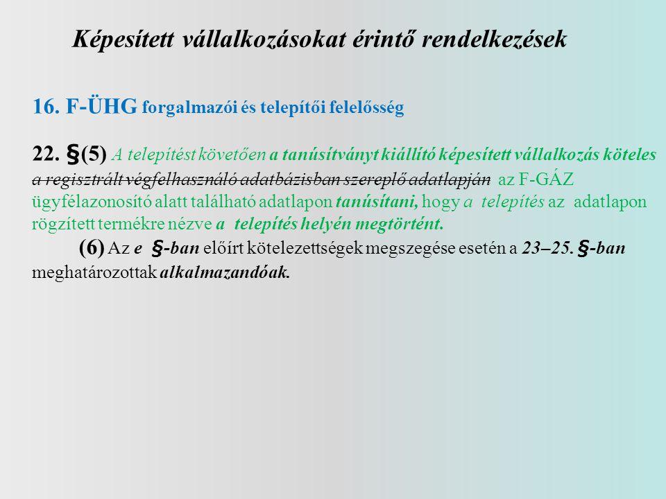 Képesített vállalkozásokat érintő rendelkezések 16. F-ÜHG forgalmazói és telepítői felelősség 22. §(5) A telepítést követően a tanúsítványt kiállító k