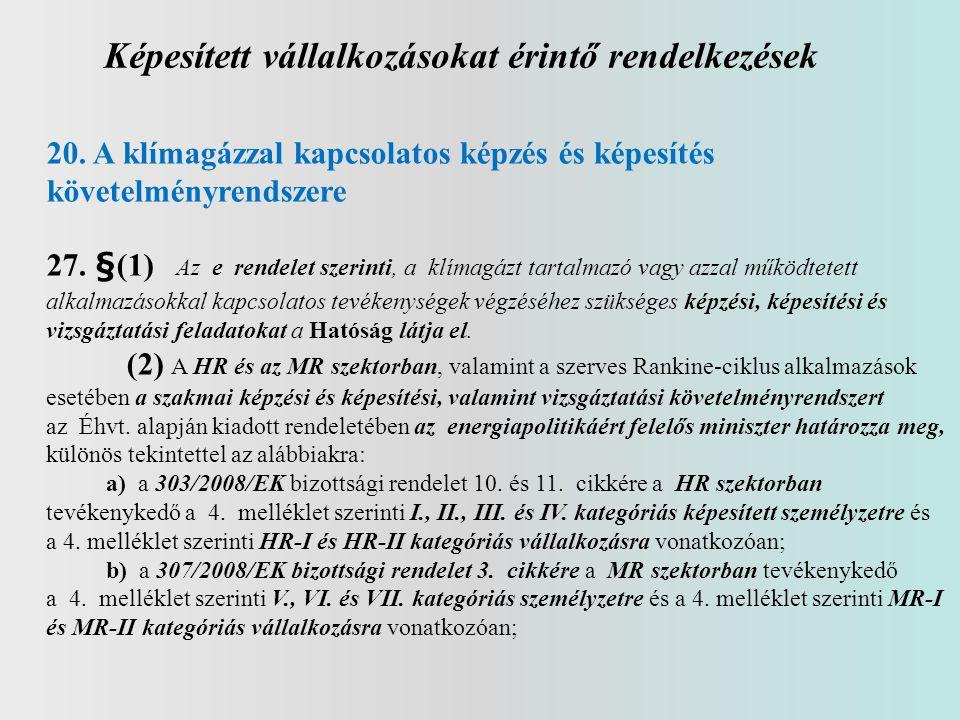 Képesített vállalkozásokat érintő rendelkezések 20. A klímagázzal kapcsolatos képzés és képesítés követelményrendszere 27. §(1) Az e rendelet szerinti