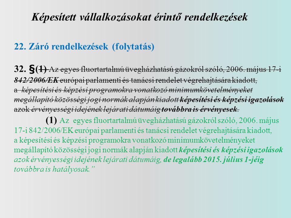 Képesített vállalkozásokat érintő rendelkezések 22. Záró rendelkezések (folytatás) 32. §(1) Az egyes fluortartalmú üvegházhatású gázokról szóló, 2006.