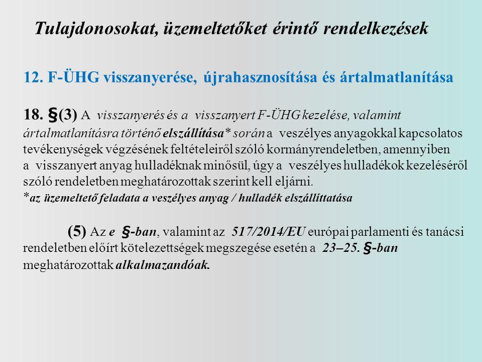 Tulajdonosokat, üzemeltetőket érintő rendelkezések 12. F-ÜHG visszanyerése, újrahasznosítása és ártalmatlanítása 18. §(3) A visszanyerés és a visszany