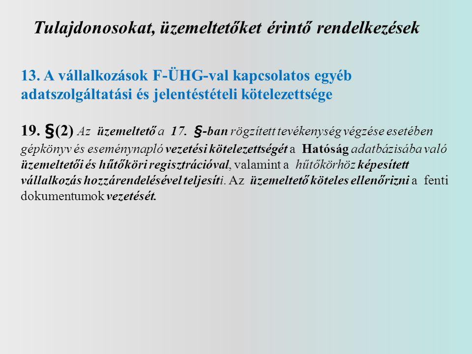 Tulajdonosokat, üzemeltetőket érintő rendelkezések 13. A vállalkozások F-ÜHG-val kapcsolatos egyéb adatszolgáltatási és jelentéstételi kötelezettsége