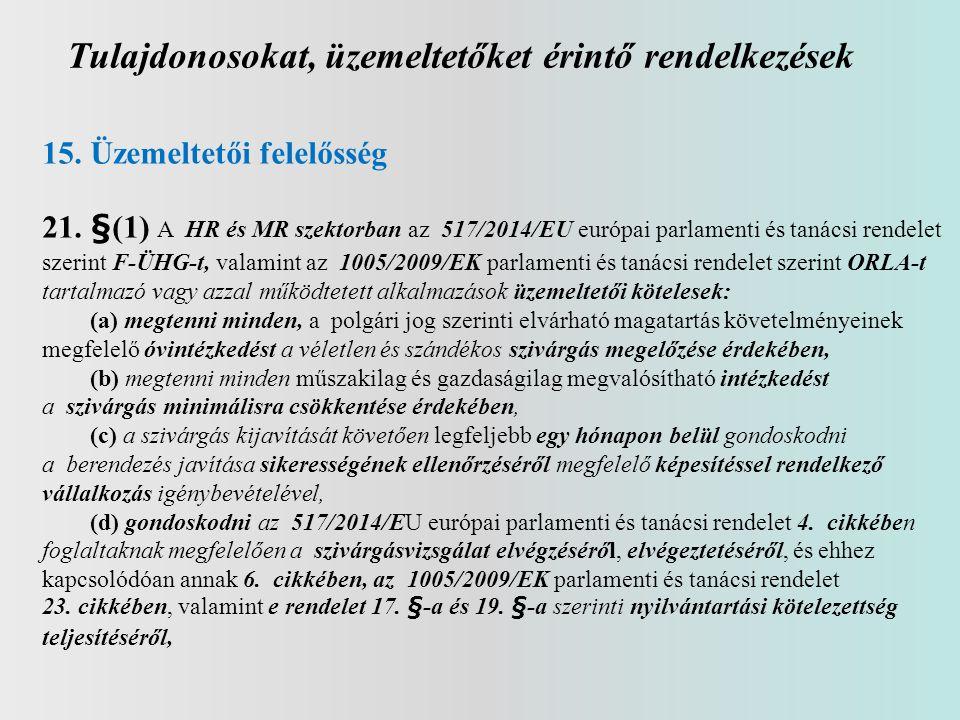 Tulajdonosokat, üzemeltetőket érintő rendelkezések 15. Üzemeltetői felelősség 21. §(1) A HR és MR szektorban az 517/2014/EU európai parlamenti és taná