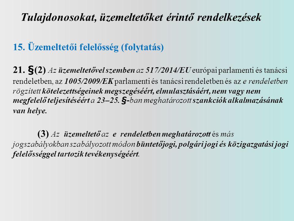 Tulajdonosokat, üzemeltetőket érintő rendelkezések 15. Üzemeltetői felelősség (folytatás) 21. §(2) Az üzemeltetővel szemben az 517/2014/EU európai par