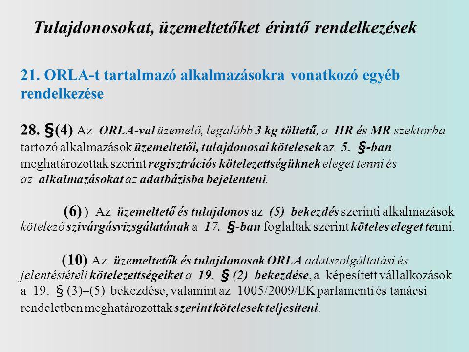 Tulajdonosokat, üzemeltetőket érintő rendelkezések 21. ORLA-t tartalmazó alkalmazásokra vonatkozó egyéb rendelkezése 28. §(4) Az ORLA-val üzemelő, leg