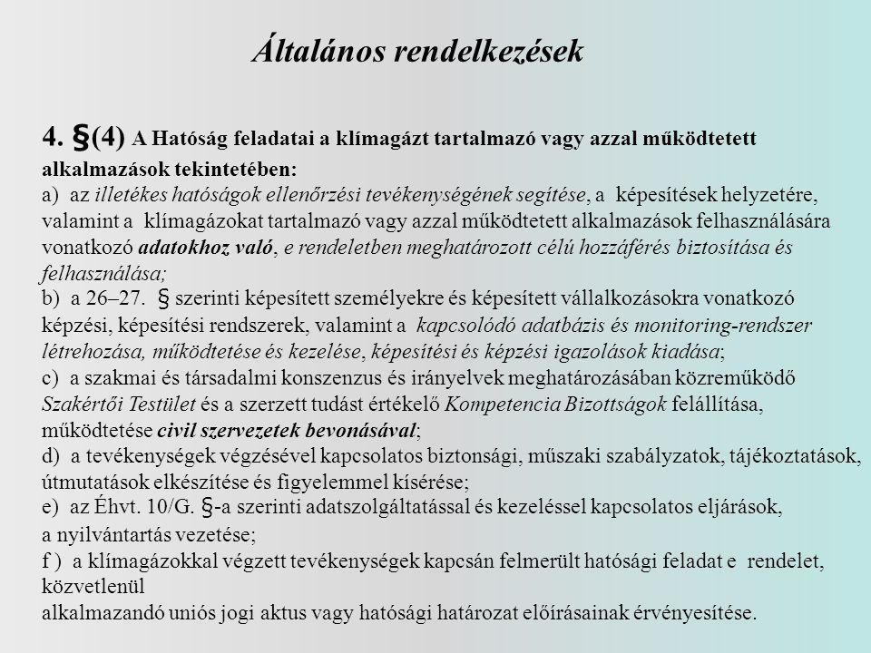 Általános rendelkezések 4. §(4) A Hatóság feladatai a klímagázt tartalmazó vagy azzal működtetett alkalmazások tekintetében: a) az illetékes hatóságok
