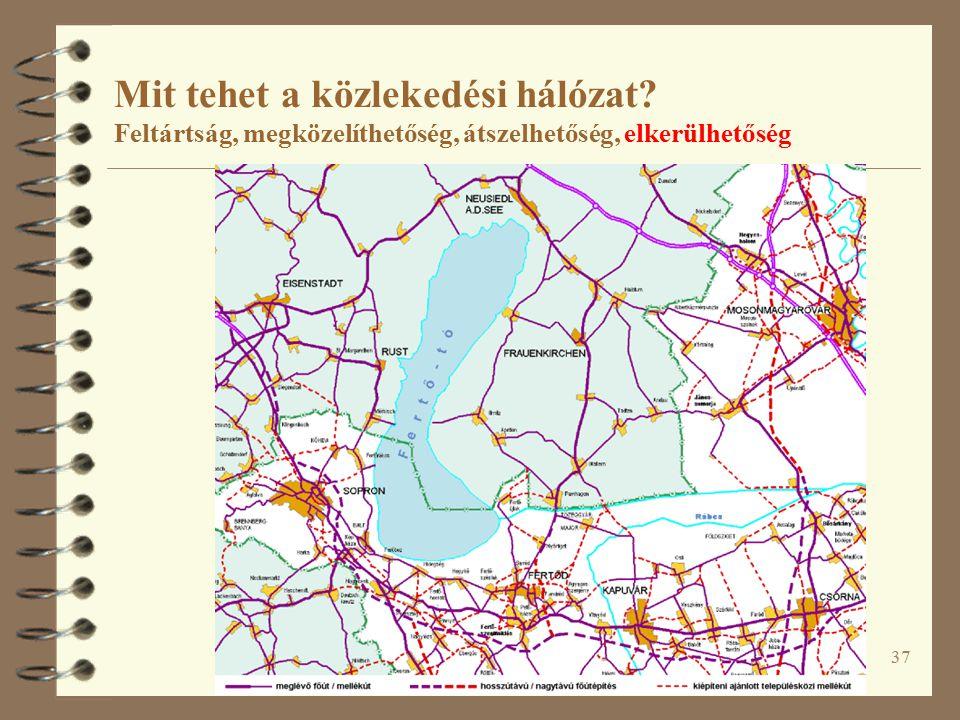 37 Mit tehet a közlekedési hálózat Feltártság, megközelíthetőség, átszelhetőség, elkerülhetőség