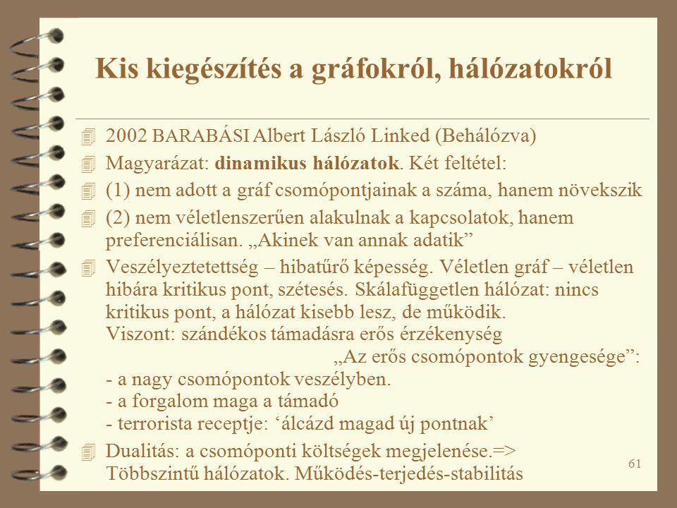 61 4 2002 BARABÁSI Albert László Linked (Behálózva) 4 Magyarázat: dinamikus hálózatok.