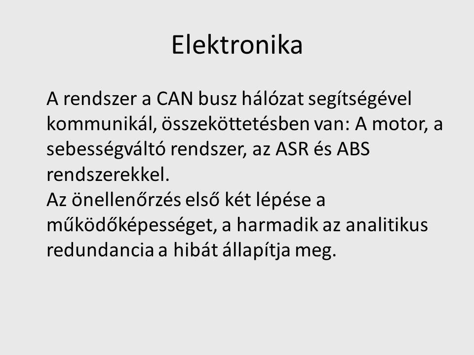 Elektronika A rendszer a CAN busz hálózat segítségével kommunikál, összeköttetésben van: A motor, a sebességváltó rendszer, az ASR és ABS rendszerekkel.