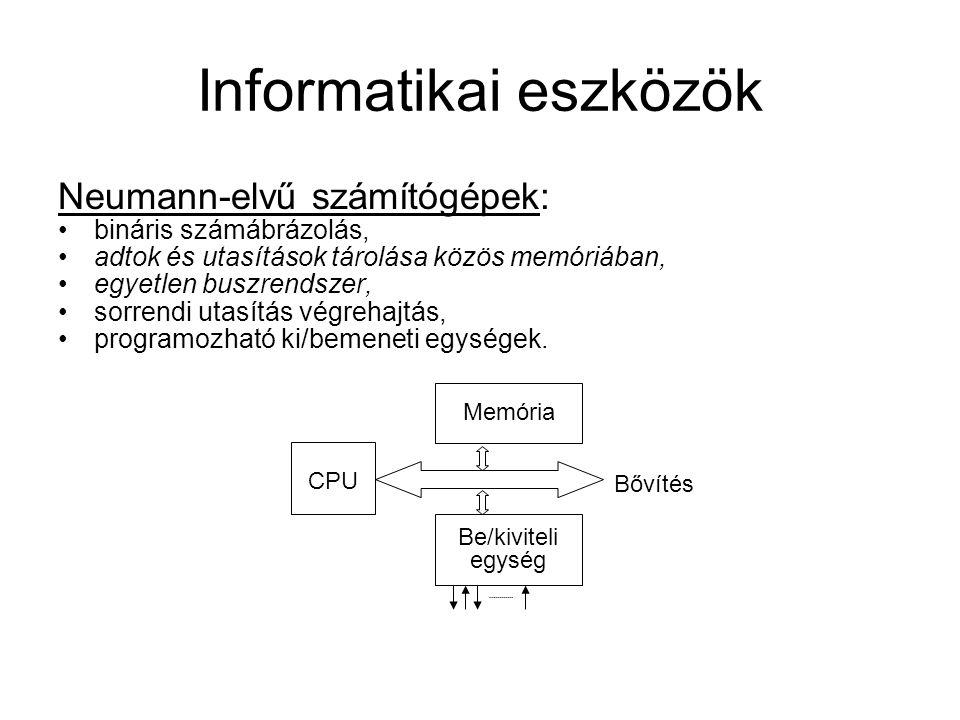 Neumann-elvű számítógépek: bináris számábrázolás, adtok és utasítások tárolása közös memóriában, egyetlen buszrendszer, sorrendi utasítás végrehajtás, programozható ki/bemeneti egységek.