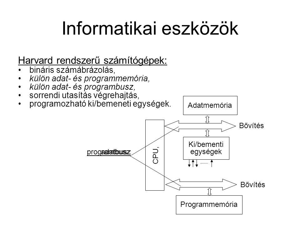 Informatikai eszközök Harvard rendszerű számítógépek: bináris számábrázolás, külön adat- és programmemória, külön adat- és programbusz, sorrendi utasítás végrehajtás, programozható ki/bemeneti egységek.