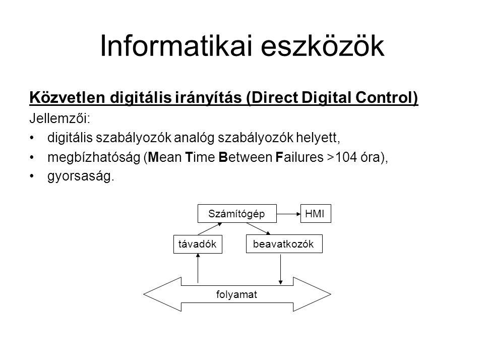 Informatikai eszközök Elosztott rendszerek (Distributed Control System) Számítógép HMI háttértár C1C1 C2C2 CNCN távadókbeavatkozók folyamat Terepi busz A DCS-rendszer előnyei: kisebb a meghibásodás valószínűsége, moduláris felépítés, könnyen, fokozatosan bevezethető, minden folyamatjellemző elérhető a számítógép számára, olcsóbb a hardver.
