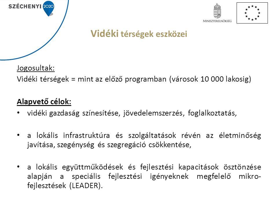 Vidéki térségek eszközei Jogosultak: Vidéki térségek = mint az előző programban (városok 10 000 lakosig) Alapvető célok: vidéki gazdaság színesítése, jövedelemszerzés, foglalkoztatás, a lokális infrastruktúra és szolgáltatások révén az életminőség javítása, szegénység és szegregáció csökkentése, a lokális együttműködések és fejlesztési kapacitások ösztönzése alapján a speciális fejlesztési igényeknek megfelelő mikro- fejlesztések (LEADER).