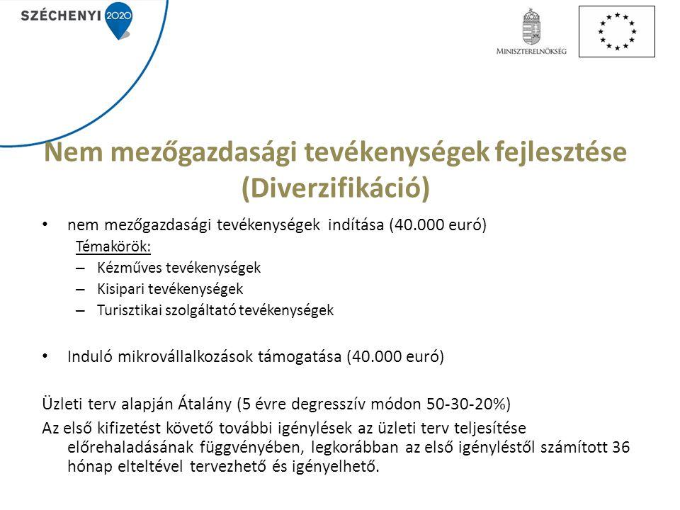 Nem mezőgazdasági tevékenységek fejlesztése (Diverzifikáció) nem mezőgazdasági tevékenységek indítása (40.000 euró) Témakörök: – Kézműves tevékenységek – Kisipari tevékenységek – Turisztikai szolgáltató tevékenységek Induló mikrovállalkozások támogatása (40.000 euró) Üzleti terv alapján Átalány (5 évre degresszív módon 50-30-20%) Az első kifizetést követő további igénylések az üzleti terv teljesítése előrehaladásának függvényében, legkorábban az első igényléstől számított 36 hónap elteltével tervezhető és igényelhető.