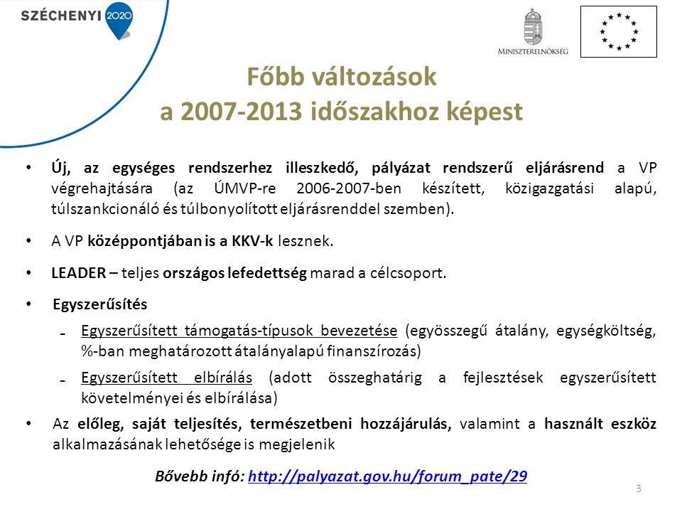 Főbb változások a 2007-2013 időszakhoz képest Új, az egységes rendszerhez illeszkedő, pályázat rendszerű eljárásrend a VP végrehajtására (az ÚMVP-re 2006-2007-ben készített, közigazgatási alapú, túlszankcionáló és túlbonyolított eljárásrenddel szemben).