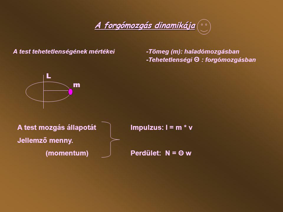 A mozgás állapot megváltozásátaz erő: F= ∆ I / ∆ t haladó mozg.
