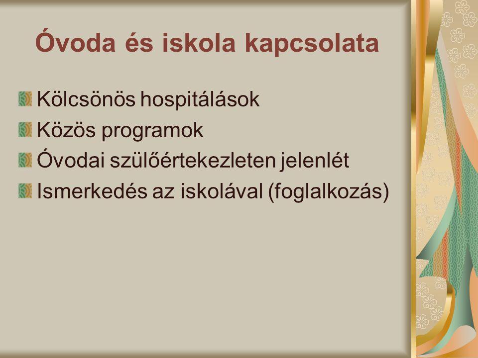 Óvoda és iskola kapcsolata Kölcsönös hospitálások Közös programok Óvodai szülőértekezleten jelenlét Ismerkedés az iskolával (foglalkozás)