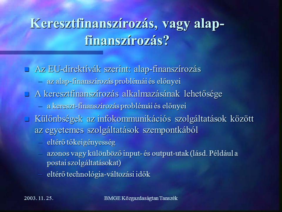 2003.11. 25.BMGE Közgazdaságtan Tanszék Keresztfinanszírozás, vagy alap- finanszírozás.