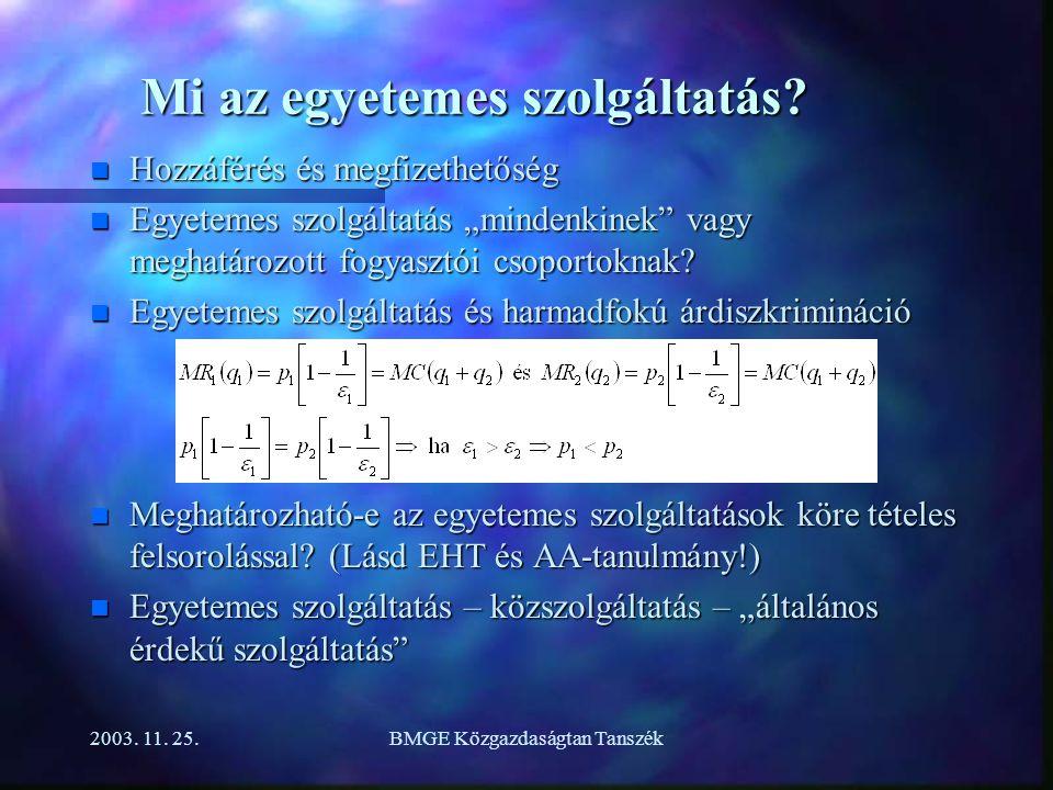 2003. 11. 25.BMGE Közgazdaságtan Tanszék Mi az egyetemes szolgáltatás.