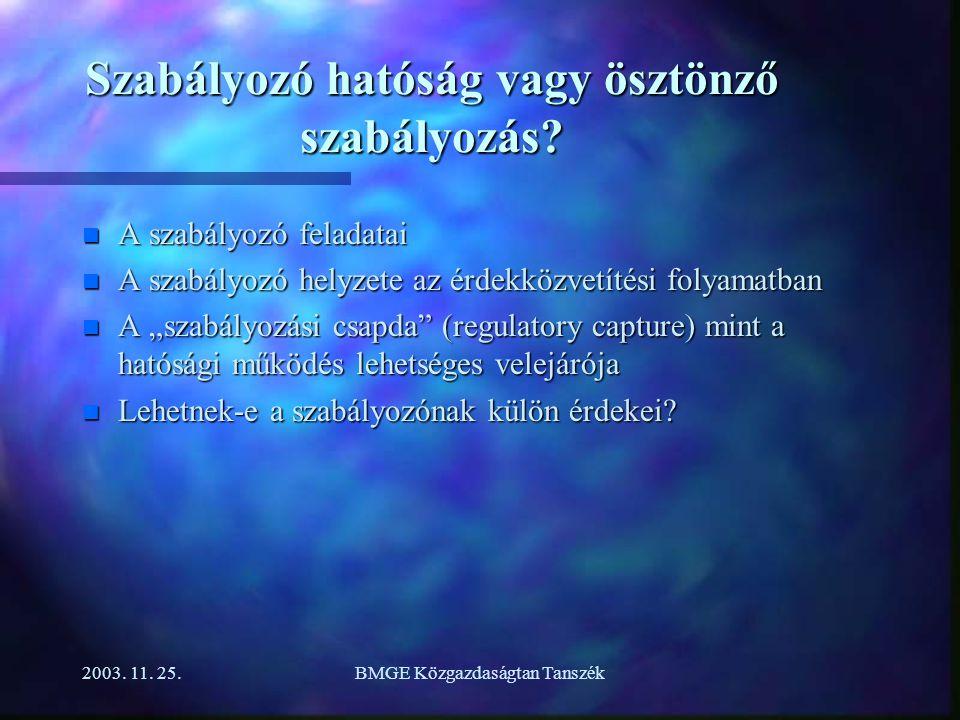 2003. 11. 25.BMGE Közgazdaságtan Tanszék Szabályozó hatóság vagy ösztönző szabályozás.