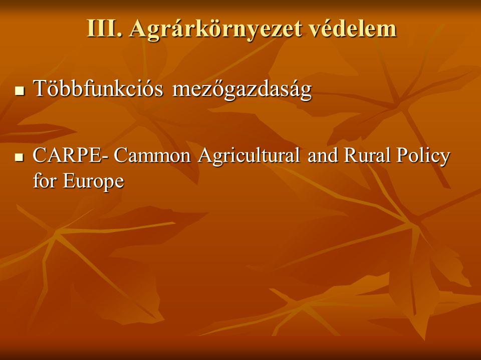 III. Agrárkörnyezet védelem Többfunkciós mezőgazdaság Többfunkciós mezőgazdaság CARPE- Cammon Agricultural and Rural Policy for Europe CARPE- Cammon A