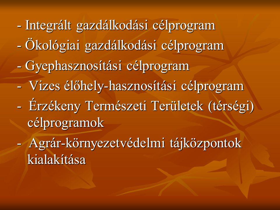 - Integrált gazdálkodási célprogram - Ökológiai gazdálkodási célprogram - Gyephasznosítási célprogram - Vizes élőhely-hasznosítási célprogram - Érzéke