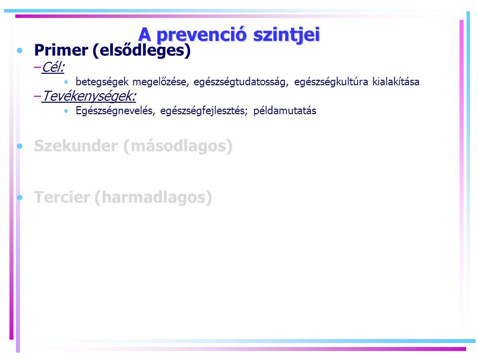 A prevenció szintjei Primer (elsődleges) –Cél: betegségek megelőzése, egészségtudatosság, egészségkultúra kialakítása –Tevékenységek: Egészségnevelés, egészségfejlesztés; példamutatás Szekunder (másodlagos) Tercier (harmadlagos)
