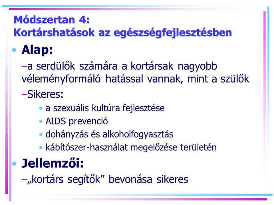 """Módszertan 4: Kortárshatások az egészségfejlesztésben Alap: –a serdülők számára a kortársak nagyobb véleményformáló hatással vannak, mint a szülők –Sikeres: a szexuális kultúra fejlesztése AIDS prevenció dohányzás és alkoholfogyasztás kábítószer-használat megelőzése területén Jellemzői: –""""kortárs segítők bevonása sikeres"""