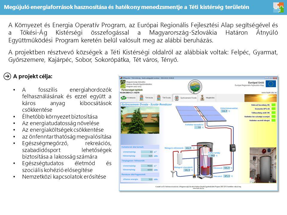 Megújuló energiaforrások hasznosítása és hatékony menedzsmentje a Téti kistérség területén A Környezet és Energia Operatív Program, az Európai Regionális Fejlesztési Alap segítségével és a Tőkési-Ág Kistérségi összefogással a Magyarország-Szlovákia Határon Átnyúló Együttműködési Program keretén belül valósult meg az alábbi beruházás.