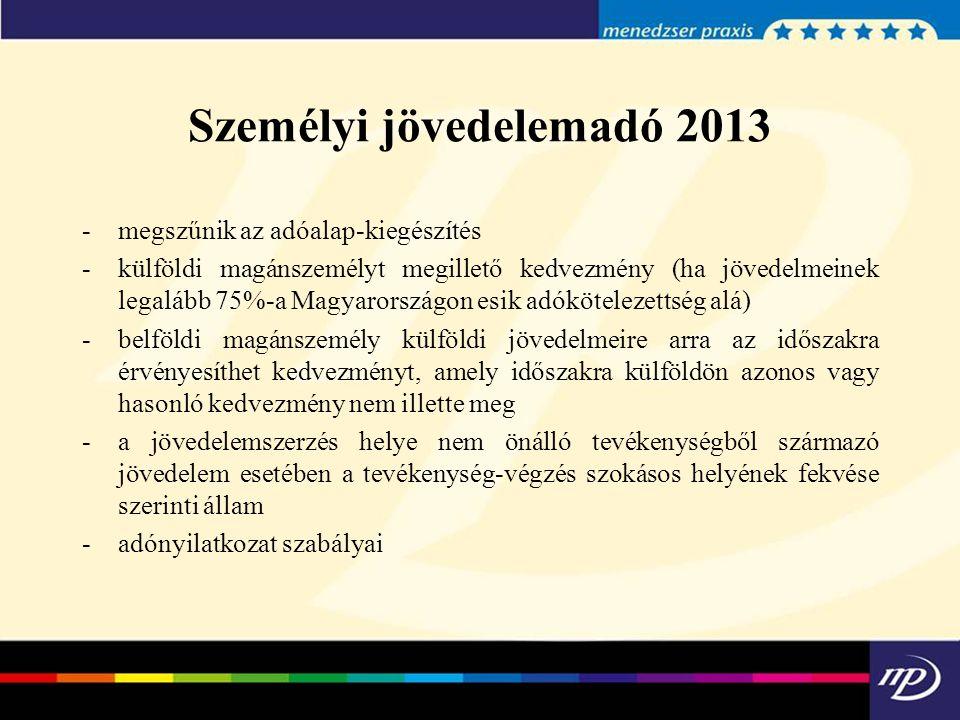 -megszűnik az adóalap-kiegészítés -külföldi magánszemélyt megillető kedvezmény (ha jövedelmeinek legalább 75%-a Magyarországon esik adókötelezettség a