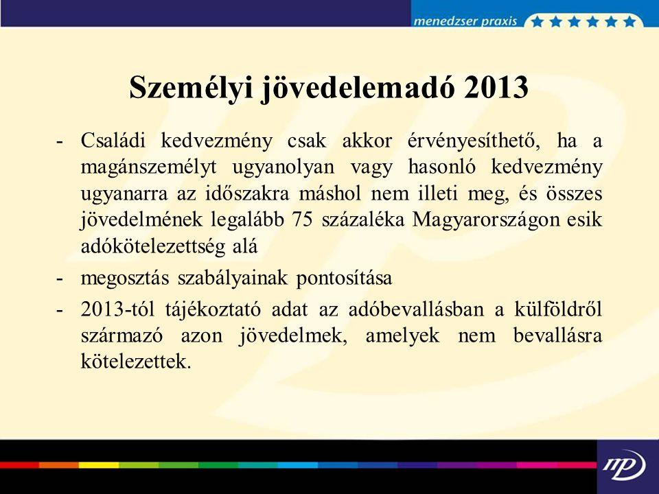 Személyi jövedelemadó 2013 -Családi kedvezmény csak akkor érvényesíthető, ha a magánszemélyt ugyanolyan vagy hasonló kedvezmény ugyanarra az időszakra