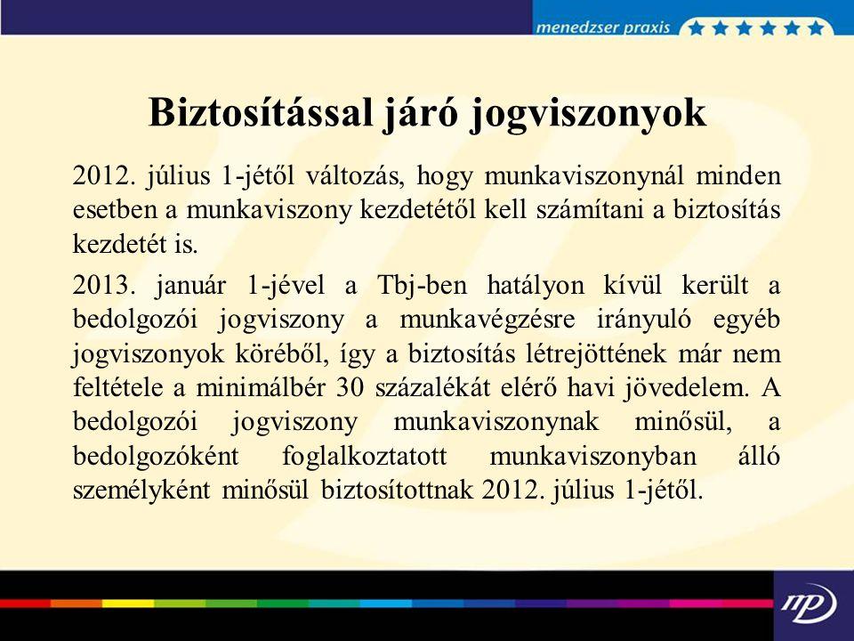 Biztosítással járó jogviszonyok 2012. július 1-jétől változás, hogy munkaviszonynál minden esetben a munkaviszony kezdetétől kell számítani a biztosít