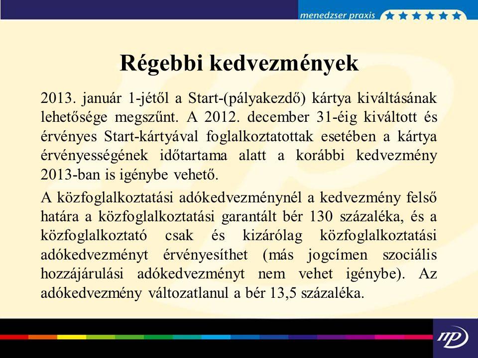 Régebbi kedvezmények 2013. január 1-jétől a Start-(pályakezdő) kártya kiváltásának lehetősége megszűnt. A 2012. december 31-éig kiváltott és érvényes