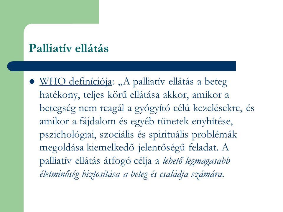 """Palliatív ellátás WHO definíciója: """"A palliatív ellátás a beteg hatékony, teljes körű ellátása akkor, amikor a betegség nem reagál a gyógyító célú kezelésekre, és amikor a fájdalom és egyéb tünetek enyhítése, pszichológiai, szociális és spirituális problémák megoldása kiemelkedő jelentőségű feladat."""