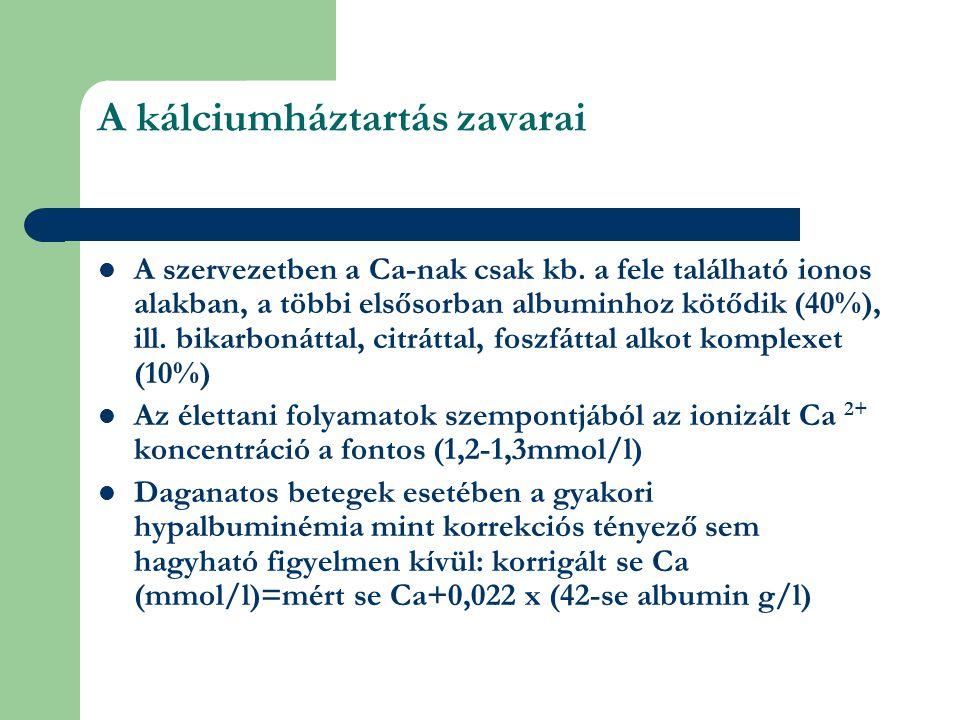 A kálciumháztartás zavarai A szervezetben a Ca-nak csak kb.