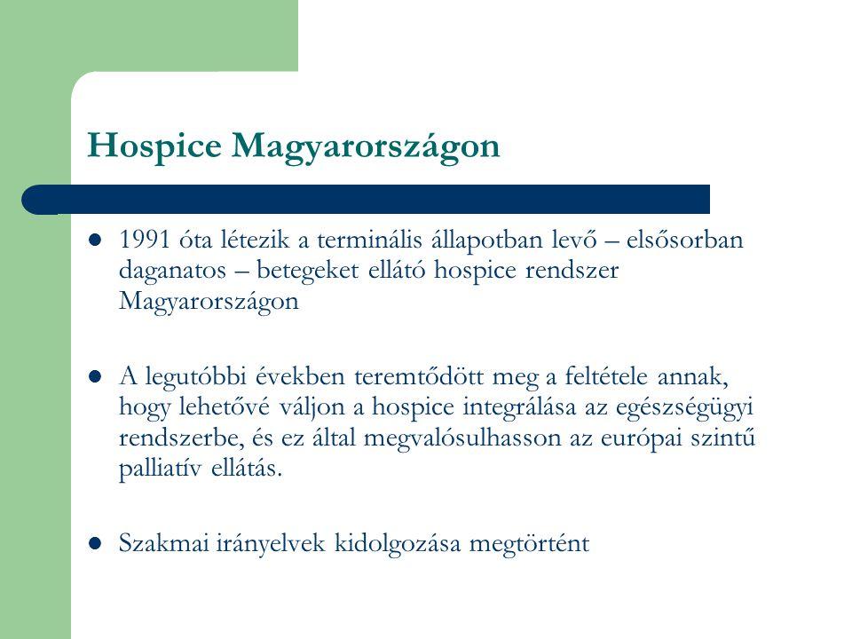 Hospice Magyarországon 1991 óta létezik a terminális állapotban levő – elsősorban daganatos – betegeket ellátó hospice rendszer Magyarországon A legutóbbi években teremtődött meg a feltétele annak, hogy lehetővé váljon a hospice integrálása az egészségügyi rendszerbe, és ez által megvalósulhasson az európai szintű palliatív ellátás.