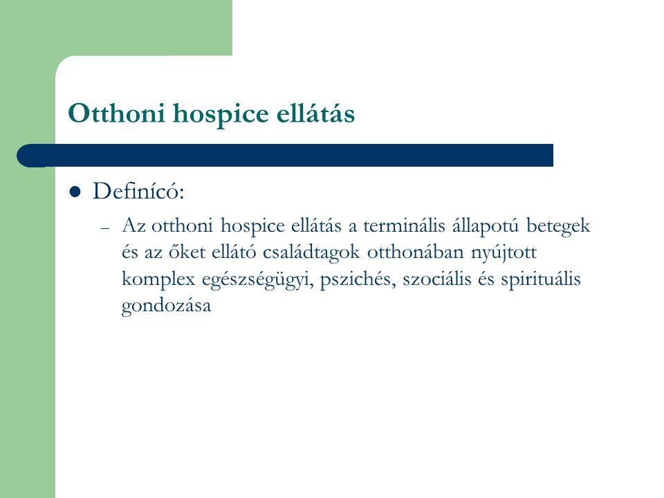 Otthoni hospice ellátás Definícó: – Az otthoni hospice ellátás a terminális állapotú betegek és az őket ellátó családtagok otthonában nyújtott komplex egészségügyi, pszichés, szociális és spirituális gondozása