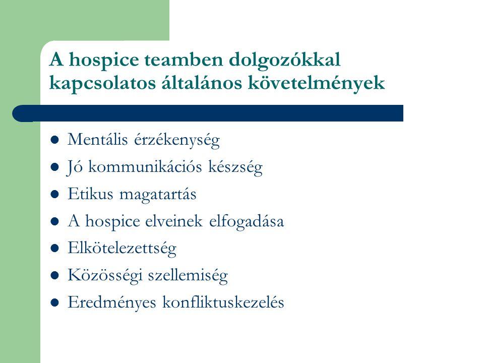 A hospice teamben dolgozókkal kapcsolatos általános követelmények Mentális érzékenység Jó kommunikációs készség Etikus magatartás A hospice elveinek elfogadása Elkötelezettség Közösségi szellemiség Eredményes konfliktuskezelés