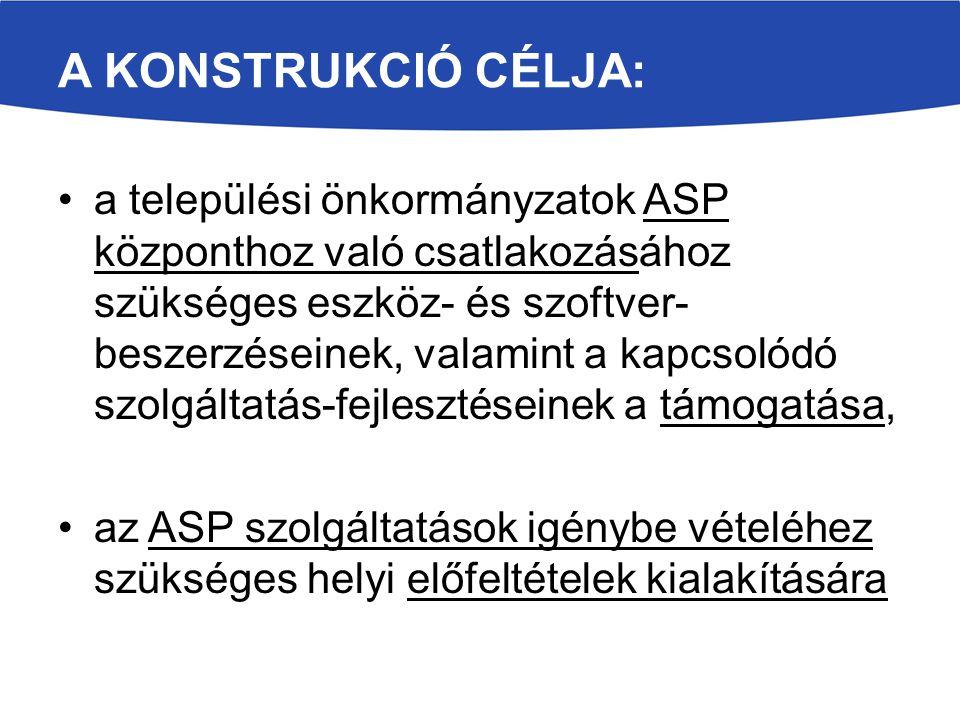 A KONSTRUKCIÓ CÉLJA: a települési önkormányzatok ASP központhoz való csatlakozásához szükséges eszköz- és szoftver- beszerzéseinek, valamint a kapcsol
