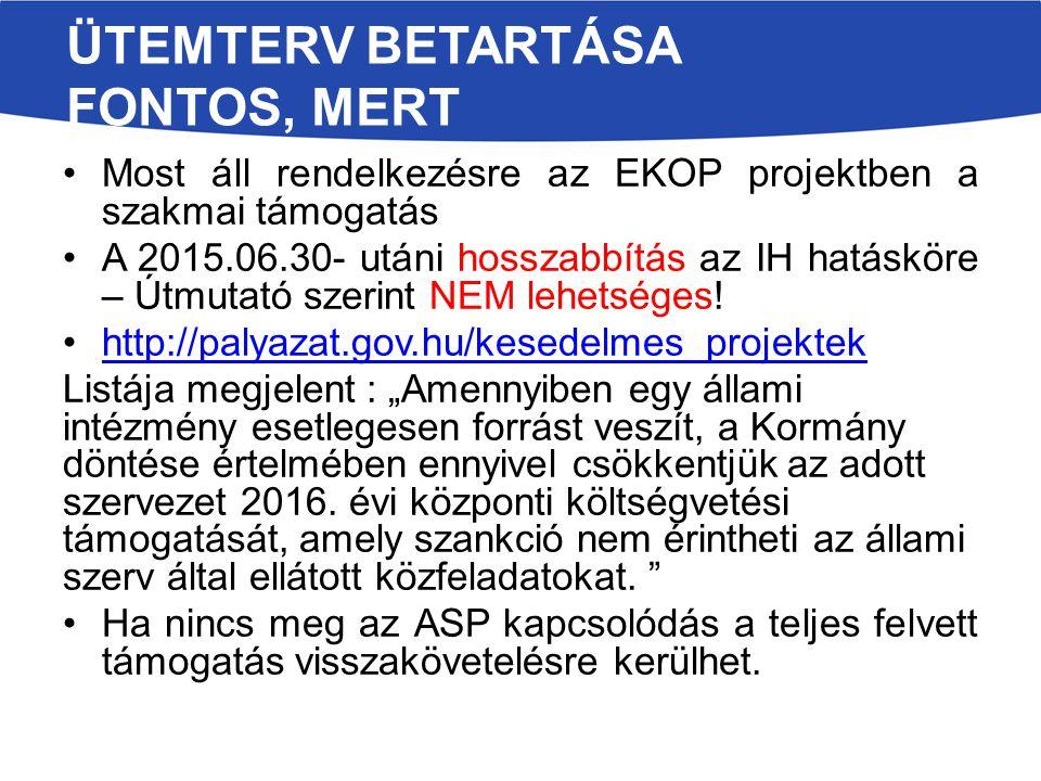 ÜTEMTERV BETARTÁSA FONTOS, MERT Most áll rendelkezésre az EKOP projektben a szakmai támogatás A 2015.06.30- utáni hosszabbítás az IH hatásköre – Útmutató szerint NEM lehetséges.