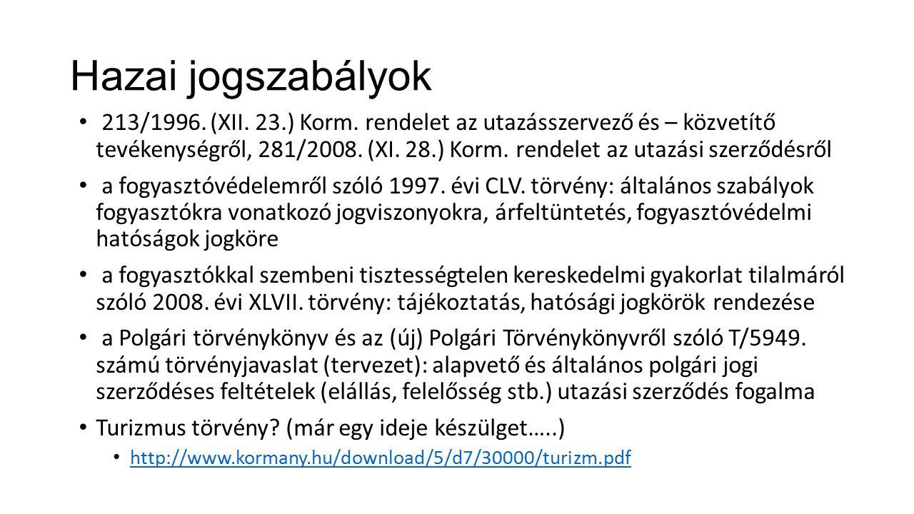 Hazai jogszabályok 213/1996. (XII. 23.) Korm. rendelet az utazásszervező és – közvetítő tevékenységről, 281/2008. (XI. 28.) Korm. rendelet az utazási